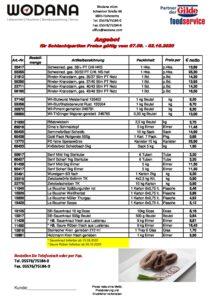 Wodana: Angebote September 2020